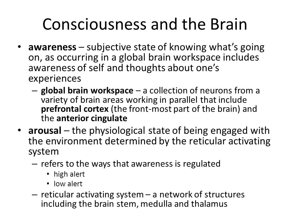 Consciousness and the Brain awareness – subjective state of knowing what's going on, as occurring in a global brain workspace includes awareness of se