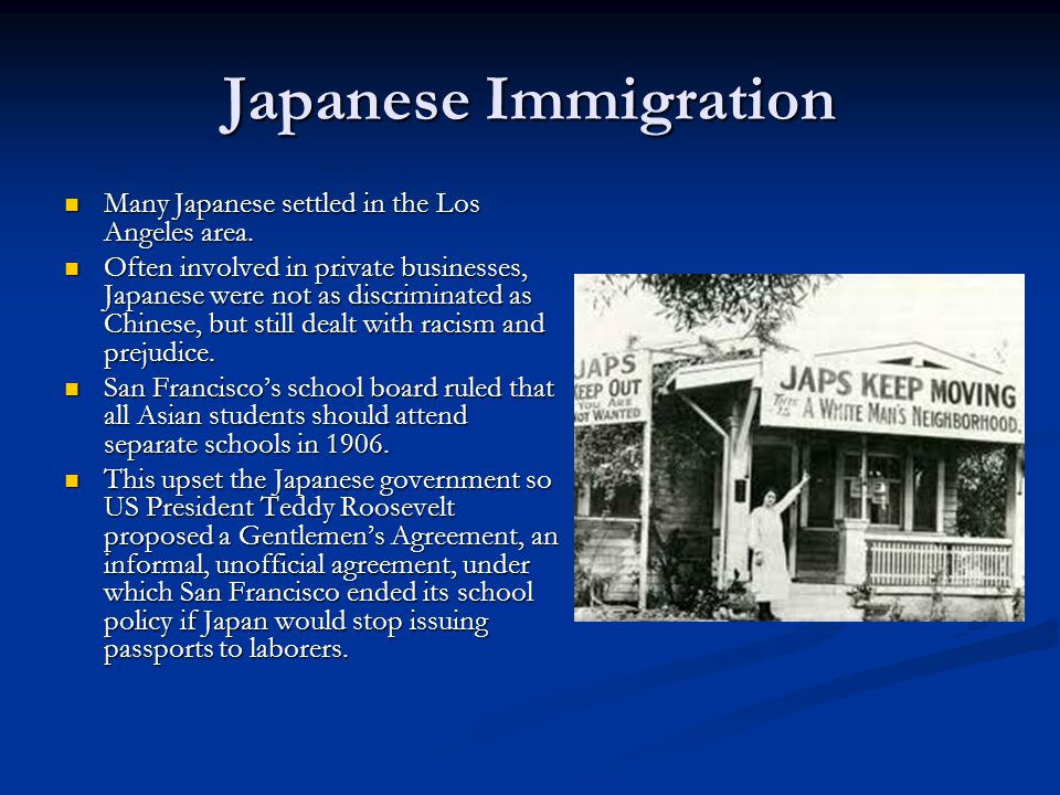 Japanese Immigration Many Japanese settled in the Los Angeles area.