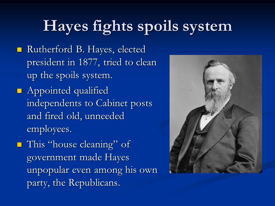 Hayes fights spoils system Rutherford B.