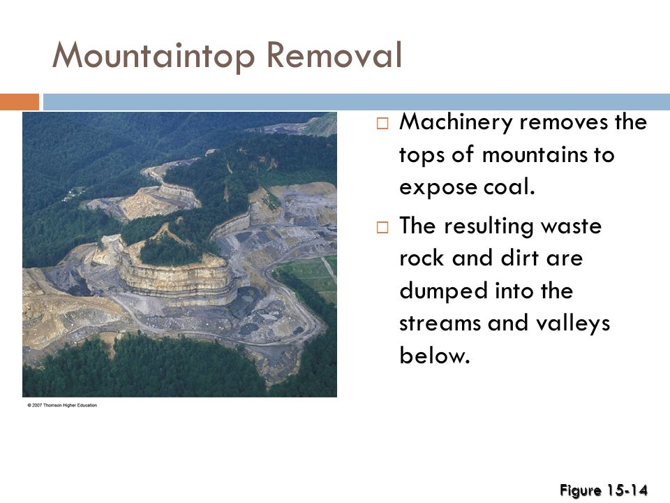 Mountaintop Removal  Machinery removes the tops of mountains to expose coal.