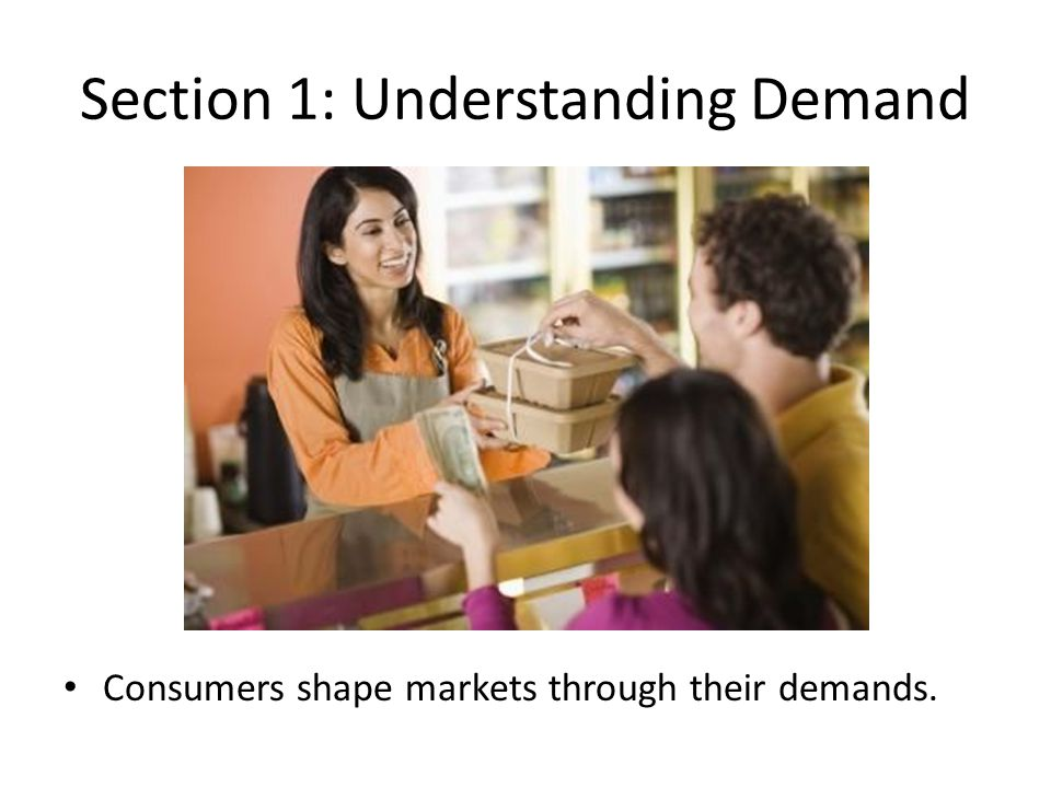 Demand Demand: the desire to own something and ability/willingness to pay for it.