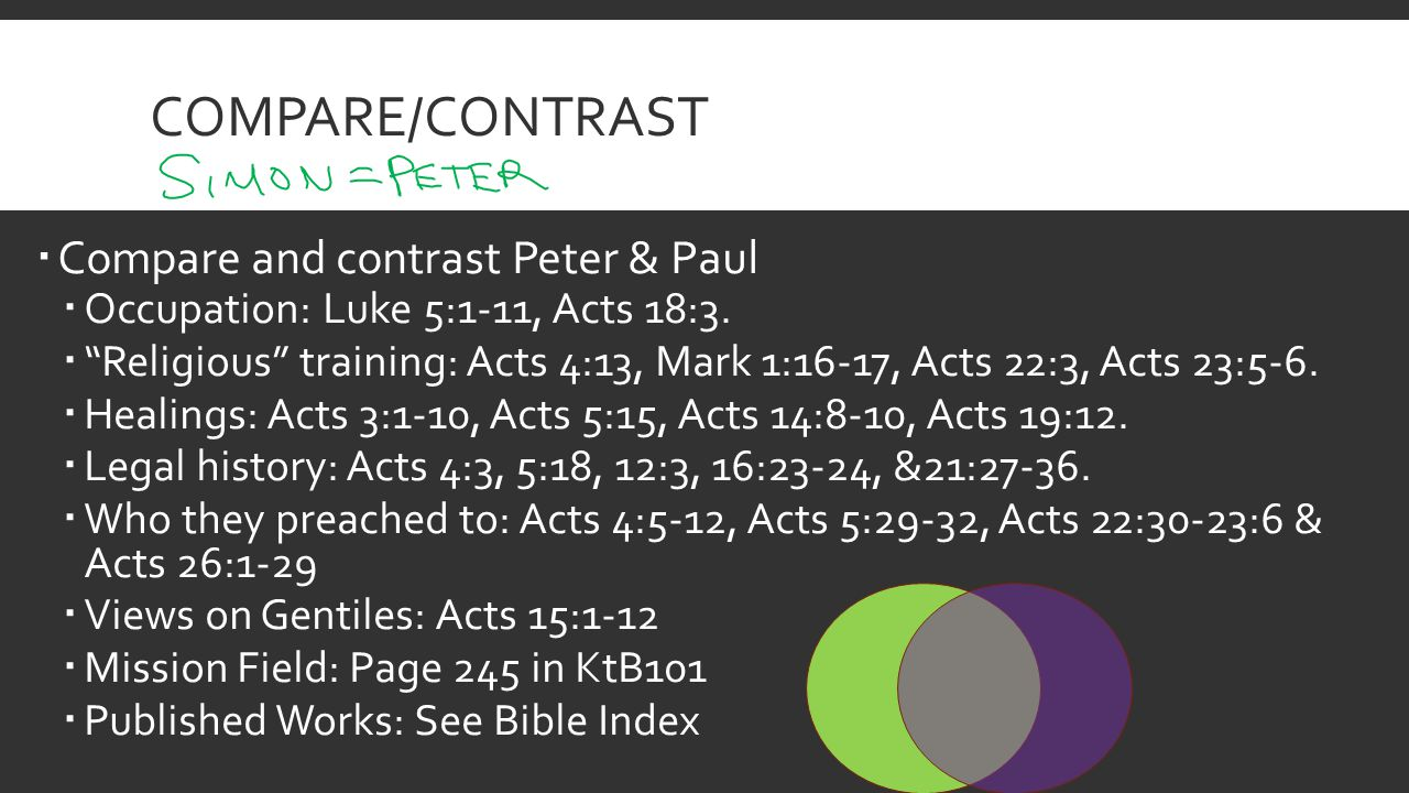 COMPARE/CONTRAST  Compare and contrast Peter & Paul  Occupation: Luke 5:1-11, Acts 18:3.