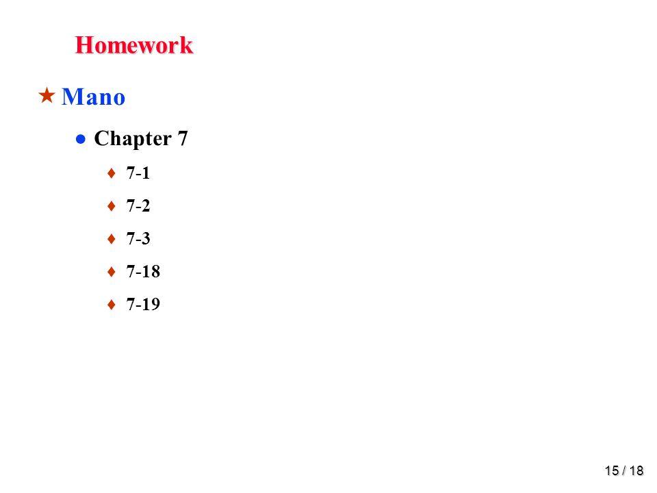 15 / 18 Homework  Mano ●Chapter 7 ♦ 7-1 ♦ 7-2 ♦ 7-3 ♦ 7-18 ♦ 7-19