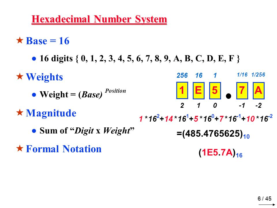 "5 / 45 Binary Number System  Base = 2 ●2 digits { 0, 1 }, called b inary dig its or ""bits""  Weights ●Weight = (Base) Position  Magnitude ●Sum of ""B"