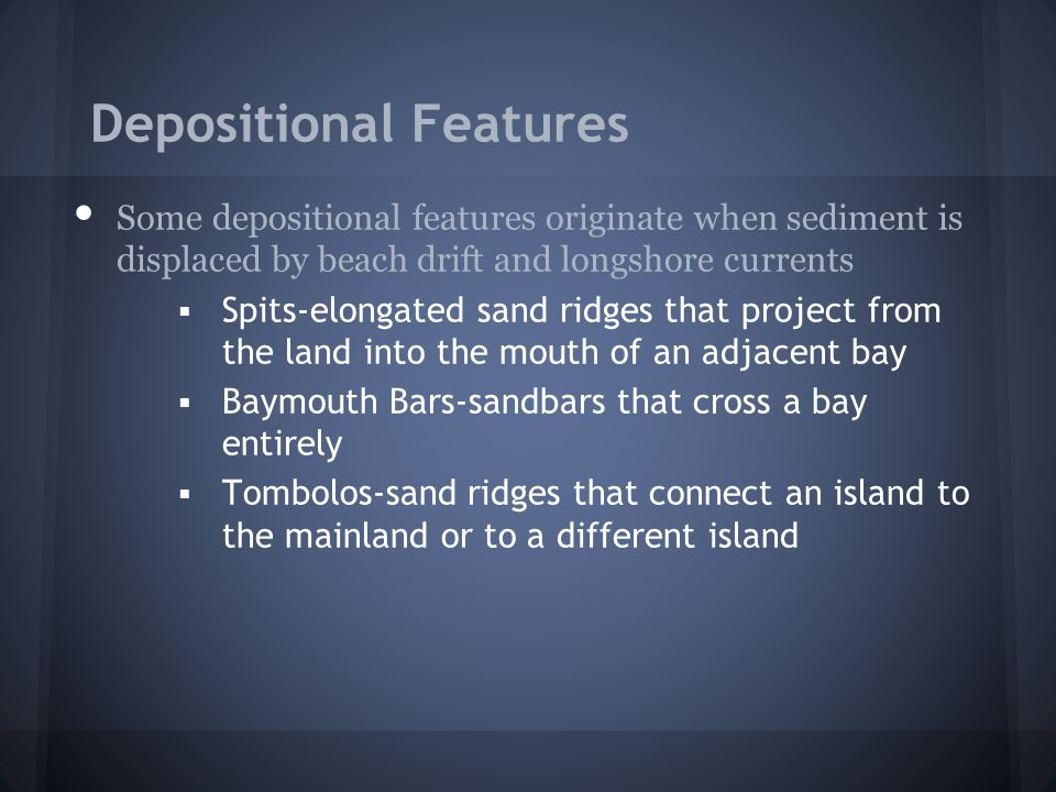 Depositional Features Some depositional features originate when sediment is displaced by beach drift and longshore currents  Spits-elongated sand rid