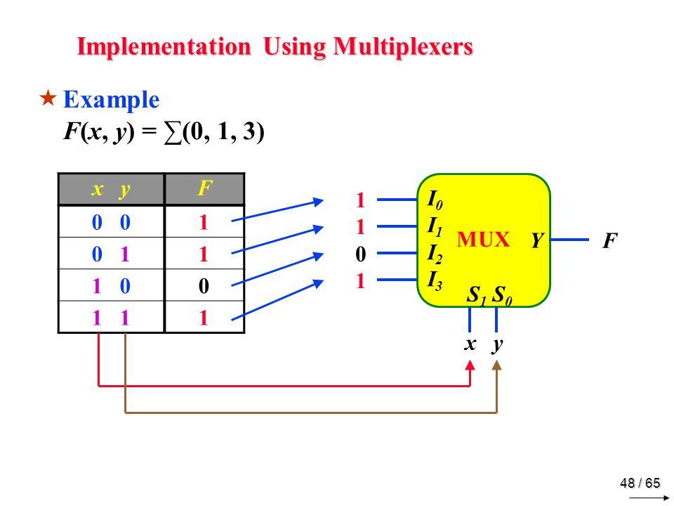 48 / 65 Implementation Using Multiplexers MUX Y I0I1 I2I3I0I1 I2I3 S 1 S 0 x yF 0 1 0 11 1 00 1 1  Example F(x, y) = ∑(0, 1, 3) x y F 11011101