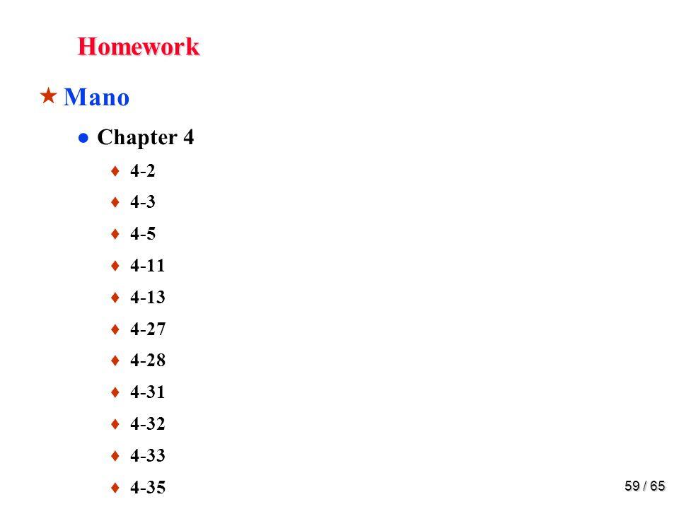 59 / 65 Homework  Mano ●Chapter 4 ♦ 4-2 ♦ 4-3 ♦ 4-5 ♦ 4-11 ♦ 4-13 ♦ 4-27 ♦ 4-28 ♦ 4-31 ♦ 4-32 ♦ 4-33 ♦ 4-35