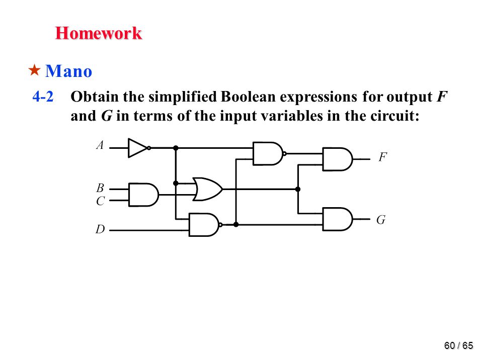 60 / 65 Homework  Mano 4-2Obtain the simplified Boolean expressions for output F and G in terms of the input variables in the circuit: