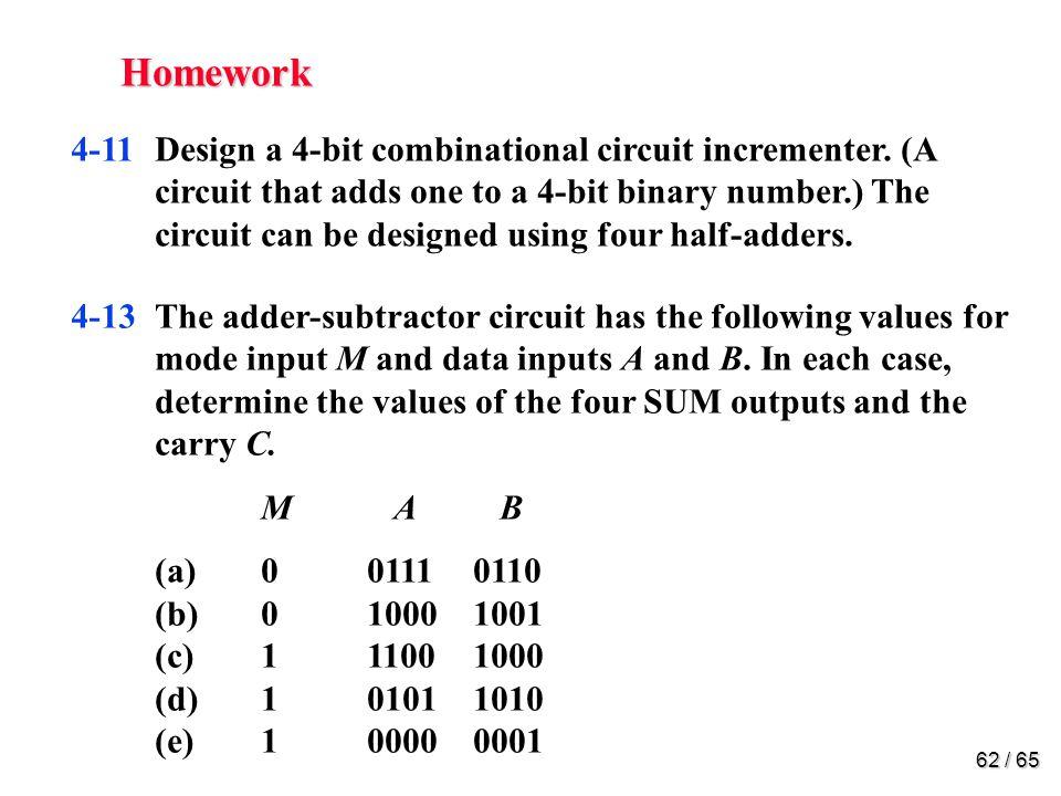 62 / 65 Homework 4-11Design a 4-bit combinational circuit incrementer.