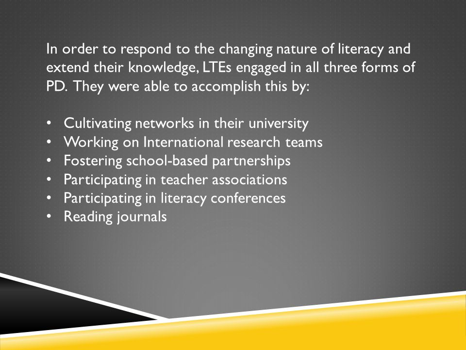 In order to respond to the changing nature of literacy and extend their knowledge, LTEs engaged in all three forms of PD. They were able to accomplish