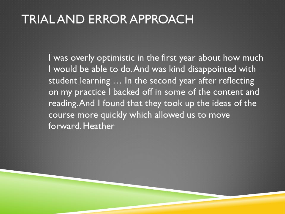 TRIAL AND ERROR APPROACH I was overly optimistic in the first year about how much I would be able to do.