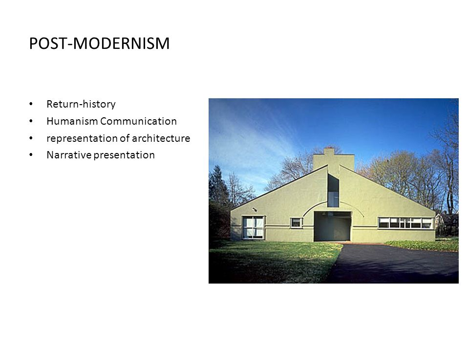POST-MODERNISM Return-history Humanism Communication representation of architecture Narrative presentation
