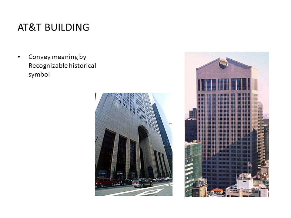 AT&T BUILDING Convey meaning by Recognizable historical symbol