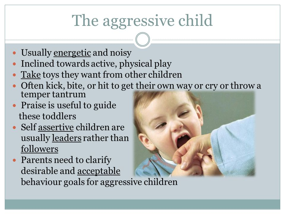 The aggressive child Usually energetic and noisy Inclined towards active, physical play Take toys they want from other children Often kick, bite, or h