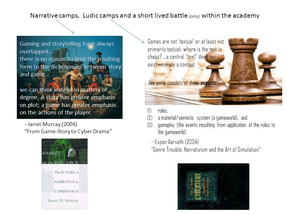 Narrative camps, Ludic camps and a short lived battle (only) within the academy Gaming and storytelling have always overlapped… there is no reason to limit the resulting form to the dichotomies between story and game… we can think instead in matters of degree.