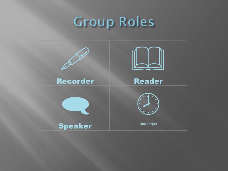  Recorder  Reader  Speaker  Timekeeper