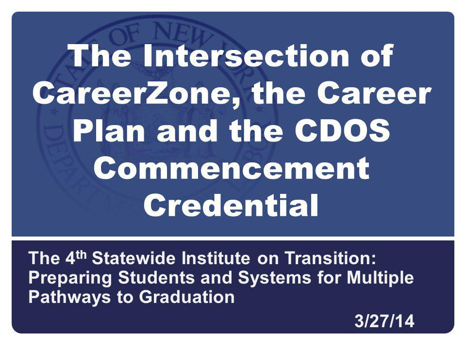The 4 th Statewide Institute on Transition: Preparing Students and Systems for Multiple Pathways to Graduation 3/27/14 The Intersection of CareerZone, the Career Plan and the CDOS Commencement Credential
