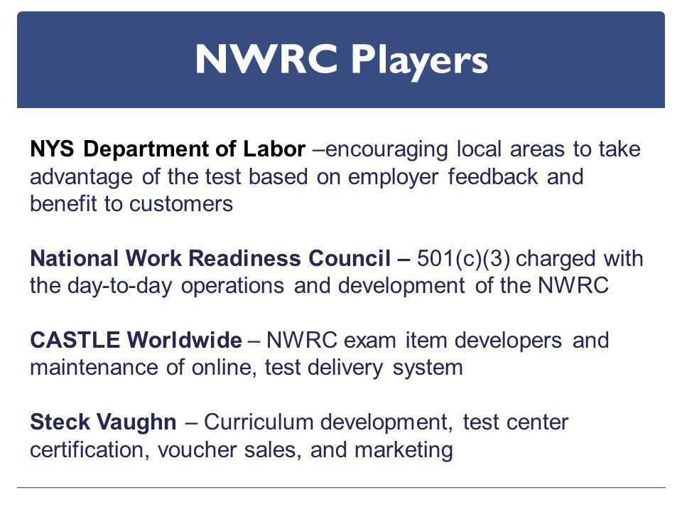 NWRC Players NYS Department of Labor –encouraging local areas to take advantage of the test based on employer feedback and benefit to customers National Work Readiness Council – 501(c)(3) charged with the day-to-day operations and development of the NWRC CASTLE Worldwide – NWRC exam item developers and maintenance of online, test delivery system Steck Vaughn – Curriculum development, test center certification, voucher sales, and marketing