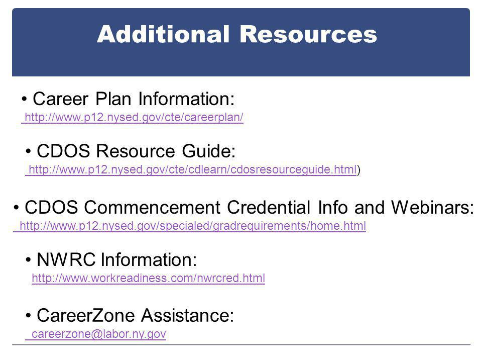 Additional Resources CDOS Commencement Credential Info and Webinars: http://www.p12.nysed.gov/specialed/gradrequirements/home.html NWRC Information: http://www.workreadiness.com/nwrcred.html Career Plan Information: http://www.p12.nysed.gov/cte/careerplan/ CDOS Resource Guide: http://www.p12.nysed.gov/cte/cdlearn/cdosresourceguide.html http://www.p12.nysed.gov/cte/cdlearn/cdosresourceguide.html) CareerZone Assistance: careerzone@labor.ny.gov