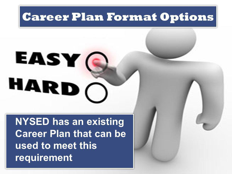 Career Plan Format Options NYSED has an existing Career Plan that can be used to meet this requirement