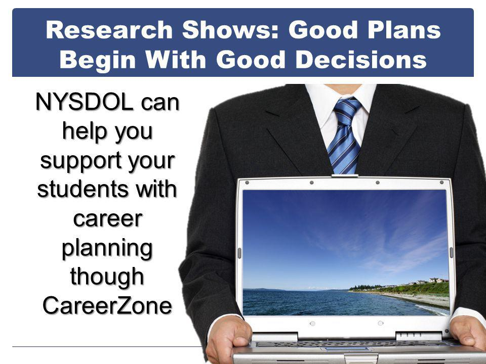 Research Shows: Good Plans Begin With Good Decisions NYSDOL can help you support your students with career planning though CareerZone