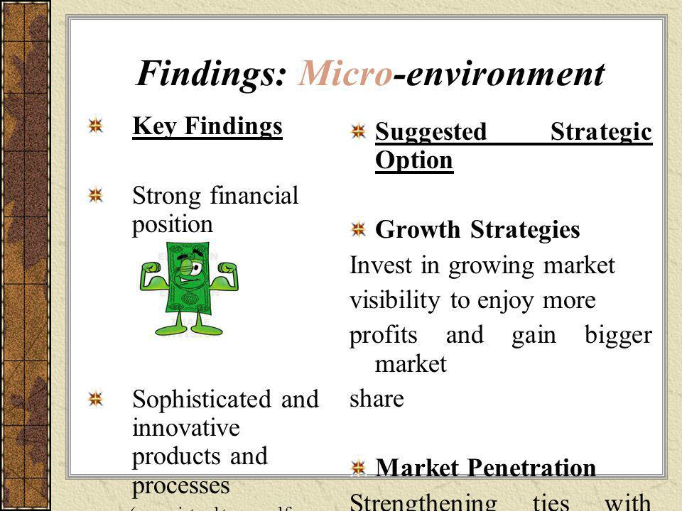 Findings: Micro-environment Key Findings Strong financial position Sophisticated and innovative products and processes (e.g. virtual tour, self- check