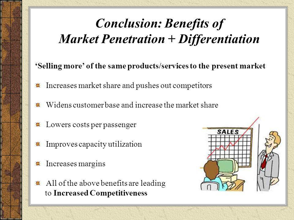 Conclusion: Benefits of Market Penetration + Differentiation 'Selling more' of the same products/services to the present market Increases market share