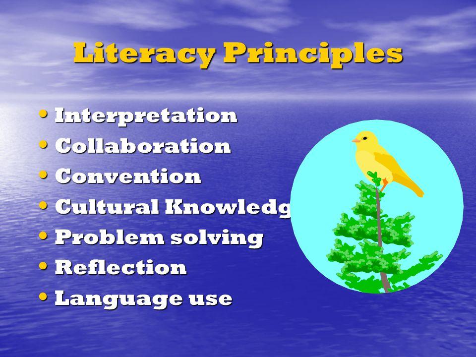 Literacy Principles Interpretation Interpretation Collaboration Collaboration Convention Convention Cultural Knowledge Cultural Knowledge Problem solving Problem solving Reflection Reflection Language use Language use