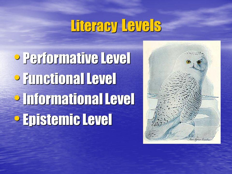 Literacy Levels Performative Level Performative Level Functional Level Functional Level Informational Level Informational Level Epistemic Level Epistemic Level