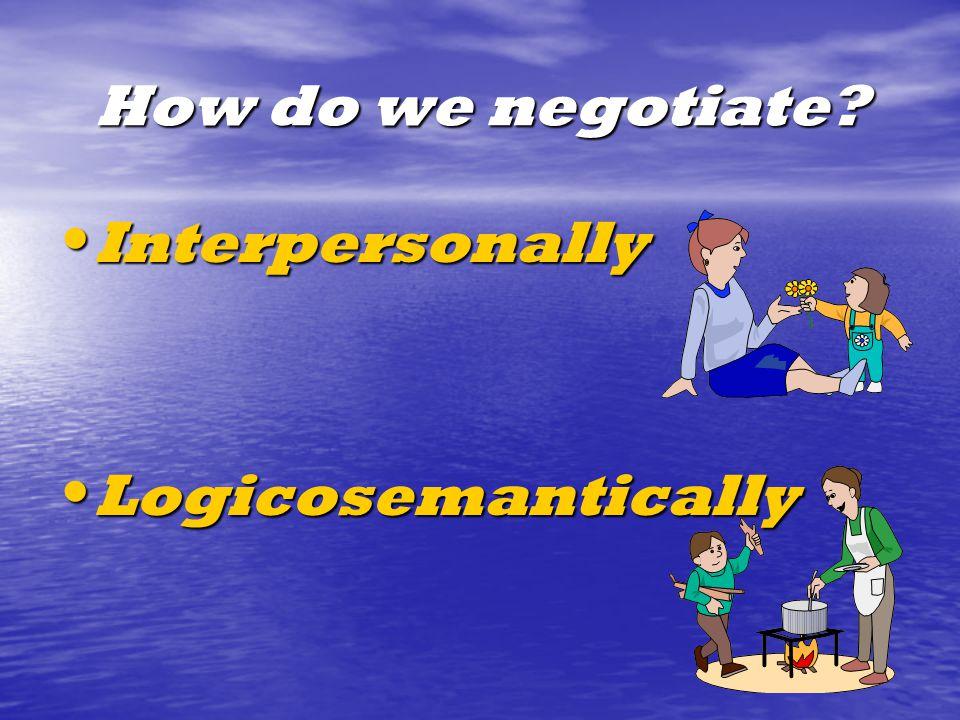 How do we negotiate Interpersonally Interpersonally Logicosemantically Logicosemantically