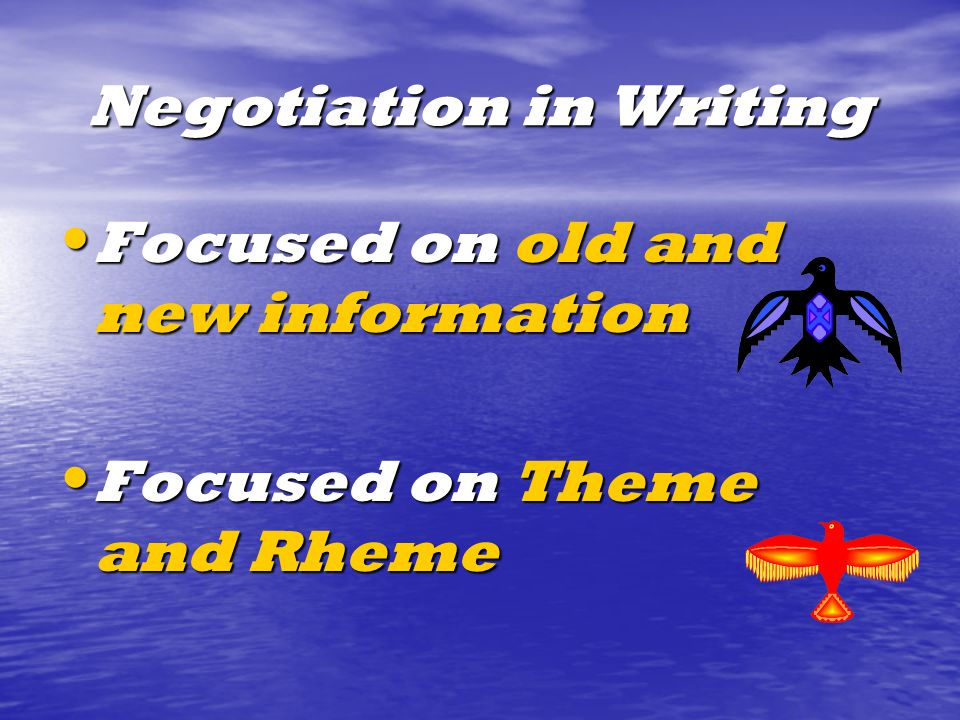Negotiation in Writing Focused on old and new information Focused on old and new information Focused on Theme and Rheme Focused on Theme and Rheme