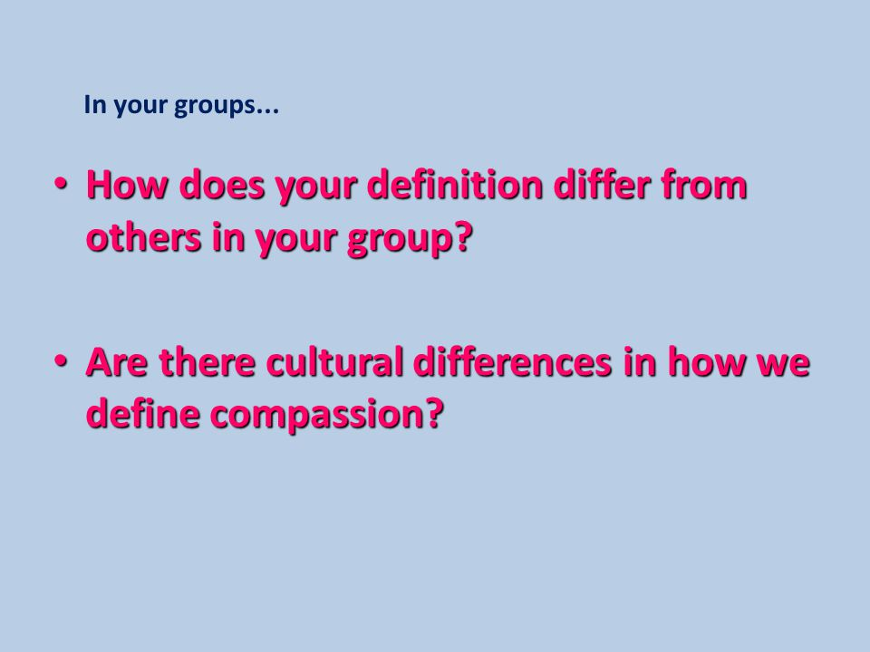 How does your definition differ from others in your group.