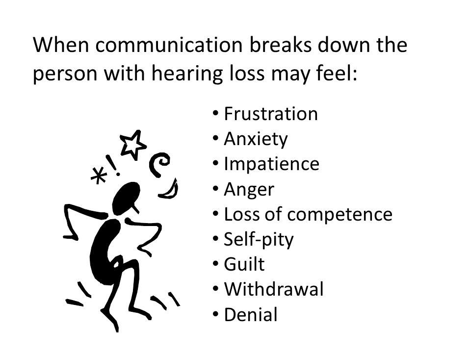 When communication breaks down the person with hearing loss may feel: Frustration Anxiety Impatience Anger Loss of competence Self-pity Guilt Withdrawal Denial