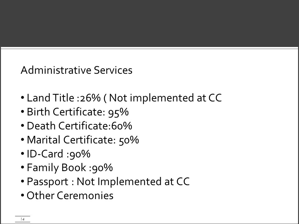 14 Administrative Services Land Title :26% ( Not implemented at CC Birth Certificate: 95% Death Certificate:60% Marital Certificate: 50% ID-Card :90% Family Book :90% Passport : Not Implemented at CC Other Ceremonies
