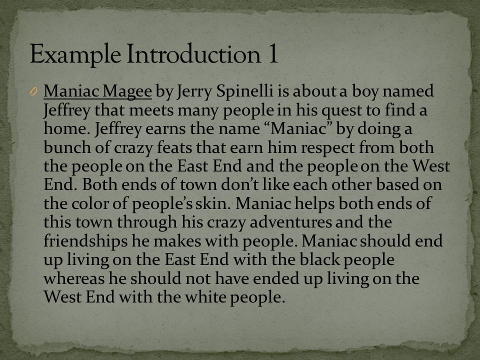 0 Maniac Magee by Jerry Spinelli is about a boy named Jeffrey that meets many people in his quest to find a home.