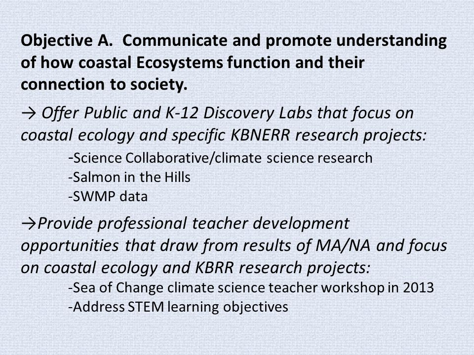 Objective A. Communicate and promote understanding of how coastal Ecosystems function and their connection to society. → Offer Public and K-12 Discove