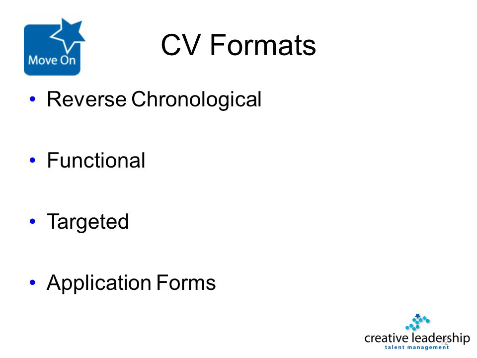 CV Formats Reverse Chronological Functional Targeted Application Forms 12