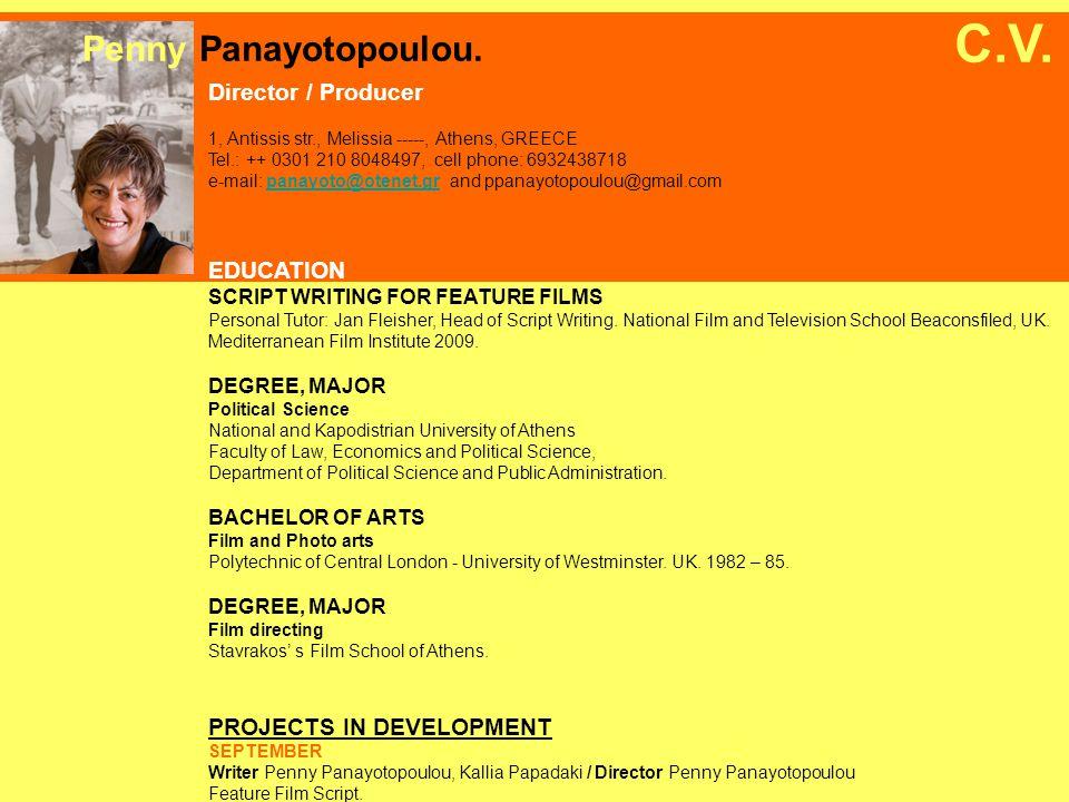 FILM DRAMA WORK HARD GOODBYES – MY FATHER (Diskoloi apochairetismoi – O babas mou) Director/ Writer.