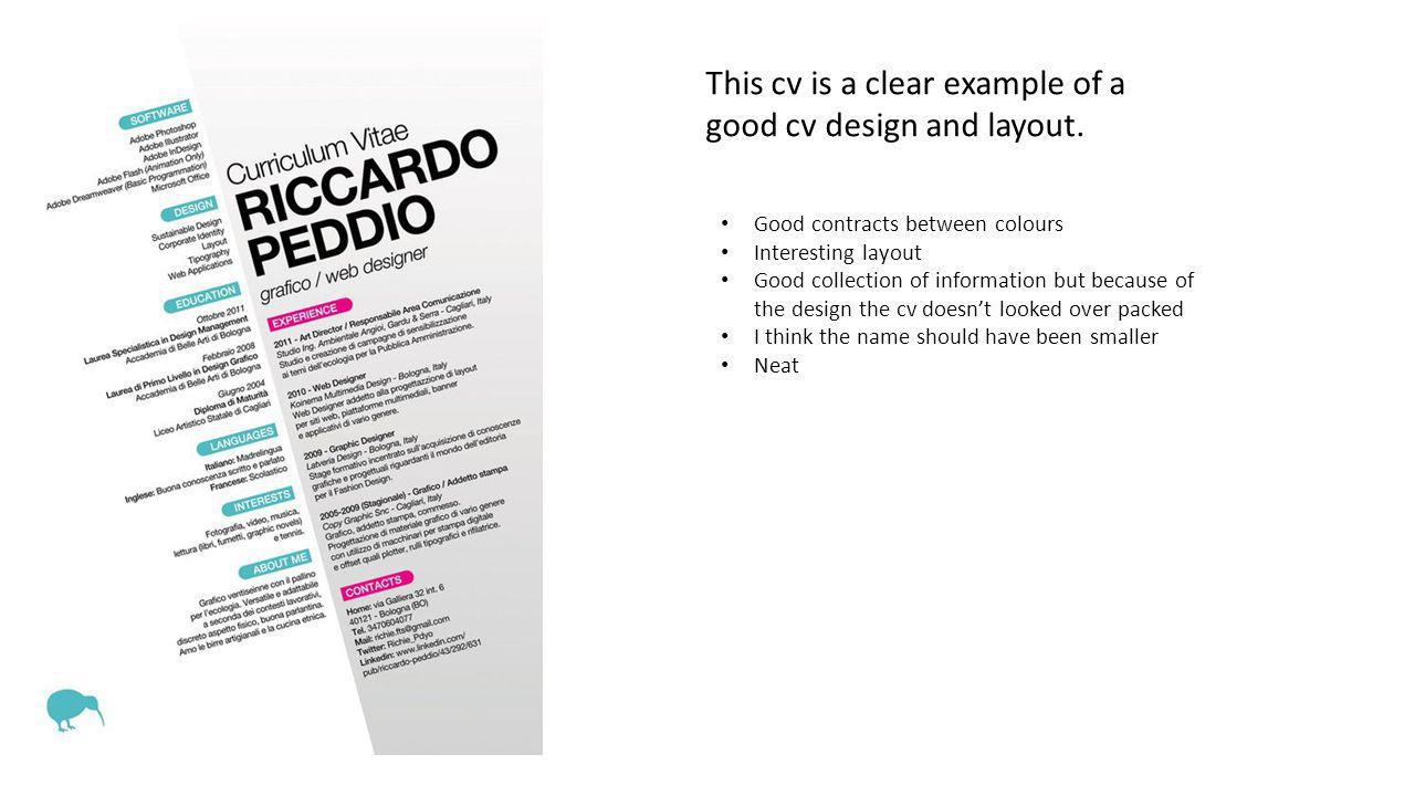 This cv is a clear example of a good cv design and layout.