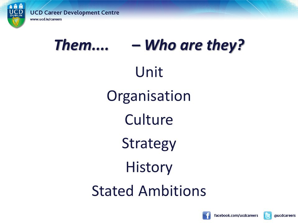 Them.... – Who are they Unit Organisation Culture Strategy History Stated Ambitions