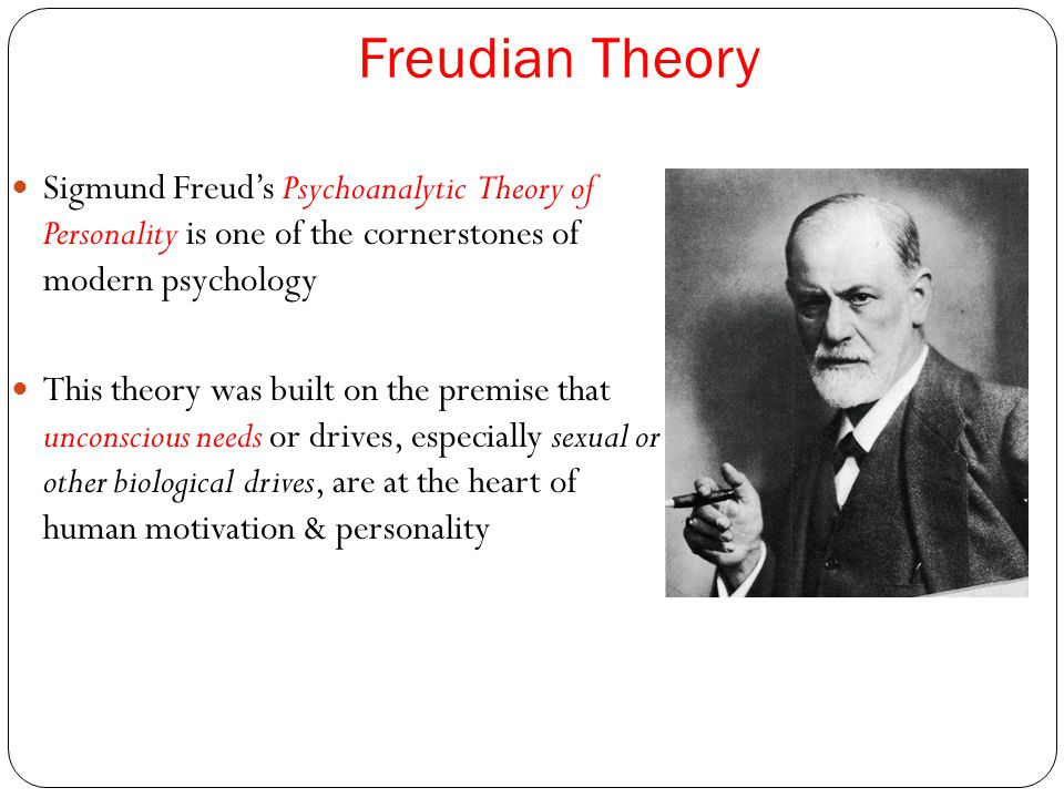 Freudian Theory Sigmund Freud's Psychoanalytic Theory of Personality is one of the cornerstones of modern psychology This theory was built on the prem