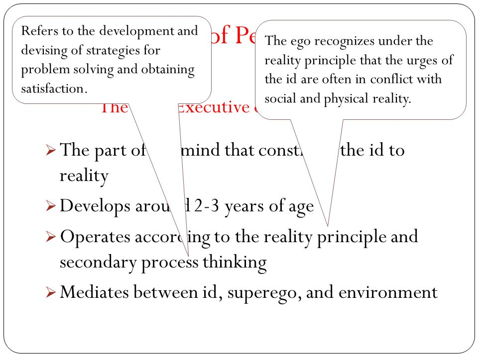 The Structure of Personality The Ego- Executive of Personality  The part of the mind that constrains the id to reality  Develops around 2-3 years of