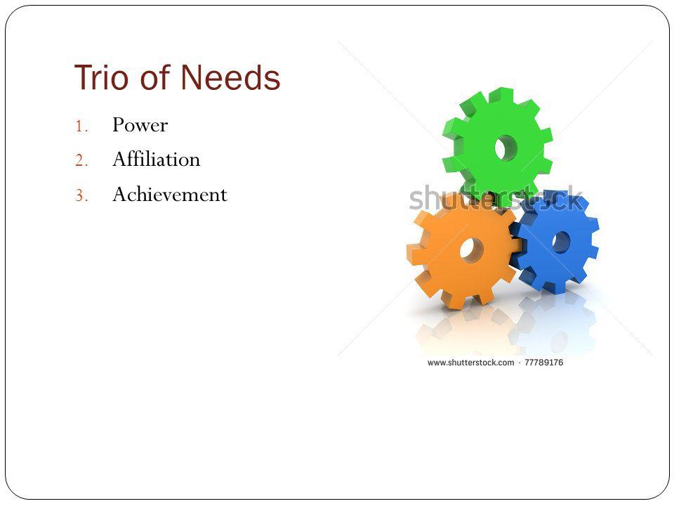 Trio of Needs 1. Power 2. Affiliation 3. Achievement
