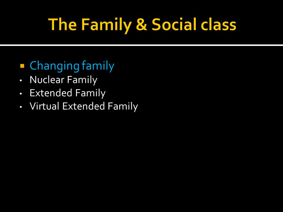  Changing family Nuclear Family Extended Family Virtual Extended Family