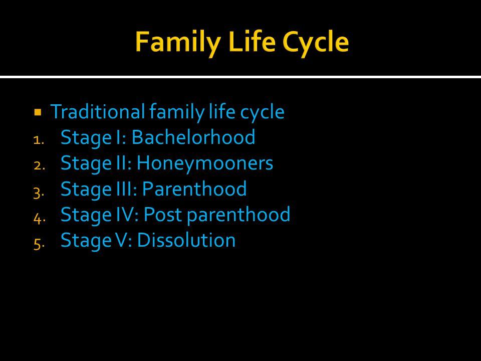  Traditional family life cycle 1. Stage I: Bachelorhood 2.