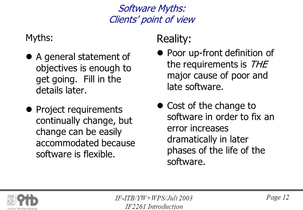 IF-ITB/YW+WPS/Juli 2003 IF2261 Introduction Page 13 Software Myths: Developers' point of view Myths: Once a program is written and works, the developer s job is done.