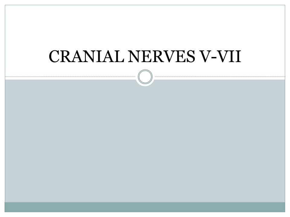 CRANIAL NERVES V-VII