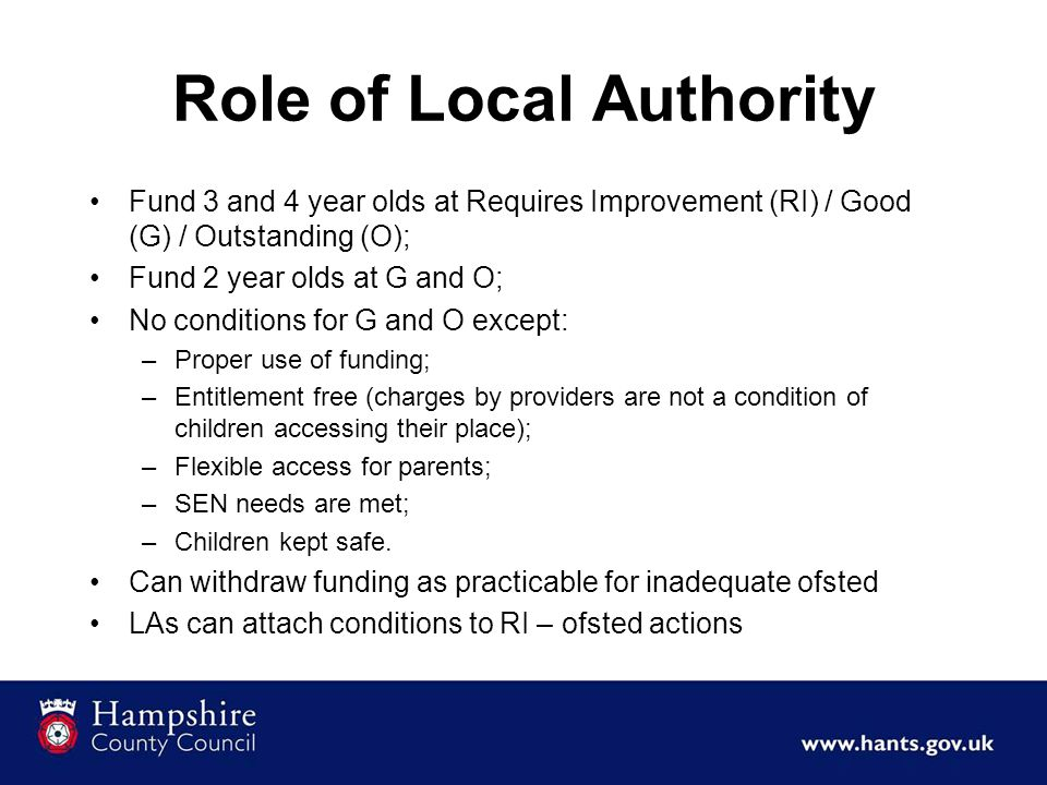 Statutory Guidance EYE In summary Maximise access and funding for children; Ofsted judgement only.