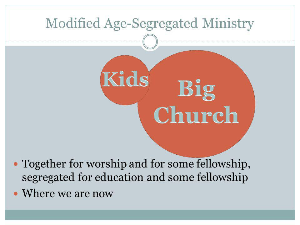 Modified Age-Segregated Ministry Together for worship and for some fellowship, segregated for education and some fellowship Where we are now
