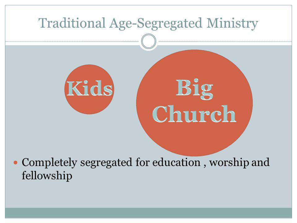 Traditional Age-Segregated Ministry Completely segregated for education, worship and fellowship